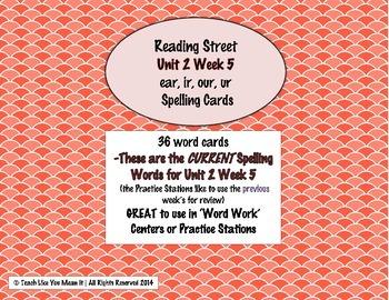 4th Grade Reading Street Unit 2 Week 5 SPELLING CARDS