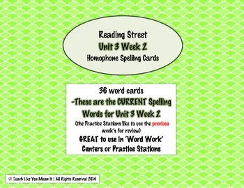 4th Grade Reading Street Unit 3 Week 2 SPELLING CARDS