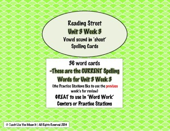 4th Grade Reading Street Unit 3 Week 3 SPELLING CARDS
