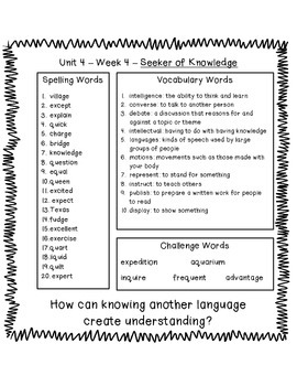 4th Grade Reading Street Unit 4 Spelling & Vocabulary Word List