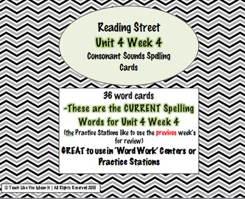 4th Grade Reading Street Unit 4 Week 4 SPELLING CARDS + Center INSTRUCTIONS