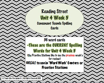4th Grade Reading Street Unit 4 Week 5 SPELLING CARDS + Center INSTRUCTIONS