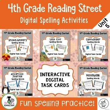 4th Grade Reading Street - Unit 5 Spelling Bundle - Digital Boom Cards