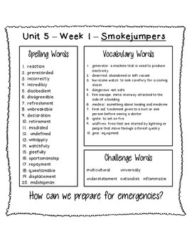 4th Grade Reading Street Unit 5 Spelling & Vocabulary Word Lists