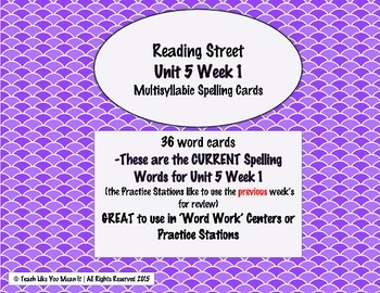 4th Grade Reading Street Unit 5 Week 1 SPELLING CARDS
