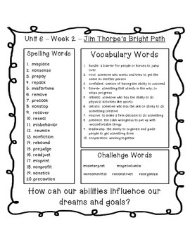 4th Grade Reading Street Unit 6 Spelling & Vocabulary Word Lists