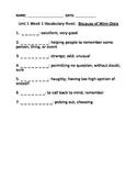 4th Grade Reading Street Vocabulary Rivets-Unit 1