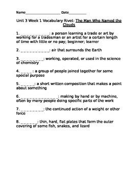 4th Grade Reading Street Vocabulary Rivets-Unit 3