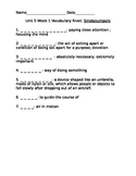 4th Grade Reading Street Vocabulary Rivets-Unit 5