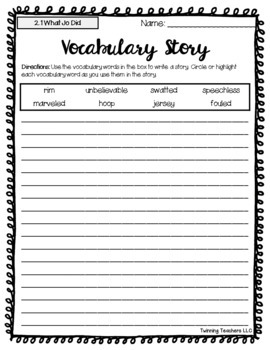 4th Grade Reading Street Vocabulary - Writing Activity UNITS 1-6