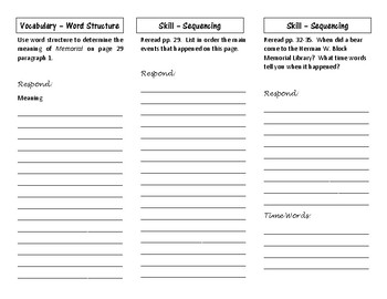 4th Grade Reading Street student Tri-Folds for Unit 1