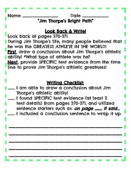 4th Grade Reading Streets Modified Look Back and Write Unit 6.2