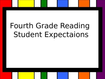 """4th Grade Reading TEKS (Student Expectations) """"I CAN"""" Statements"""