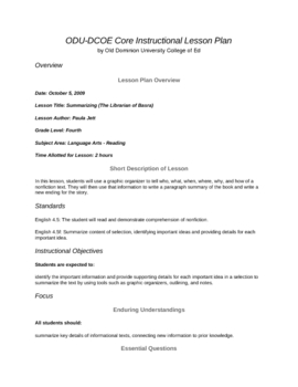 4th Grade Reading-Summarizing Lesson (The Librarian of Basra)