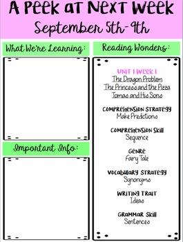4th Grade Reading Wonders Class Newsletter - Unit 1 Week 1 FREEBIE