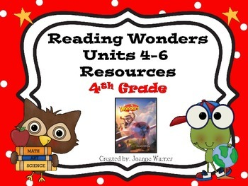 4th Grade Reading Wonders Resources ~ Units 4-6 ~ Semester