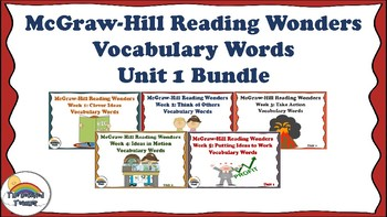 4th Grade Reading Wonders Unit 1 BUNDLE Vocabulary with Definitions Word Wall