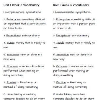 4th Grade Reading Wonders - Unit 1 Vocabulary