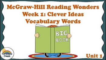 4th Grade Reading Wonders Unit 1 Week 1 Vocabulary with Definitions Word Wall