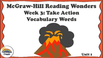 4th Grade Reading Wonders Unit 1 Week 3 Vocabulary with Definitions Word Wall