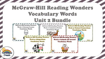 4th Grade Reading Wonders Unit 2 BUNDLE Vocabulary with Definitions Word Wall
