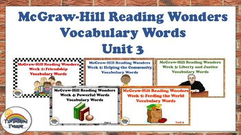 4th Grade Reading Wonders Unit 3 BUNDLE Vocabulary with Definitions Word Wall