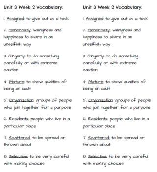 4th Grade Reading Wonders - Unit 3 Vocabulary