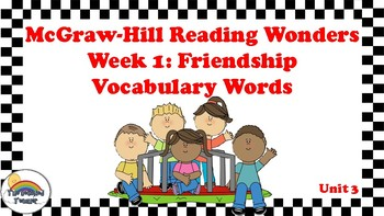 4th Grade Reading Wonders Unit 3 Week 1 Vocabulary with Definitions Word Wall