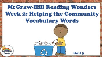 4th Grade Reading Wonders Unit 3 Week 2 Vocabulary with Definitions Word Wall