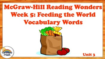 4th Grade Reading Wonders Unit 3 Week 5 Vocabulary w/ Definitions Word Wall