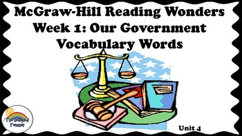 4th Grade Reading Wonders Unit 4 Week 1 Vocabulary with Definitions Word Wall