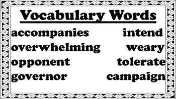 4th Grade Reading Wonders Unit 4 Week 2 Vocabulary with Definitions Word Wall