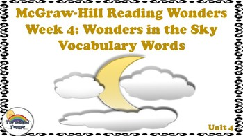 4th Grade Reading Wonders Unit 4 Week 4 Vocabulary with Definitions Word Wall