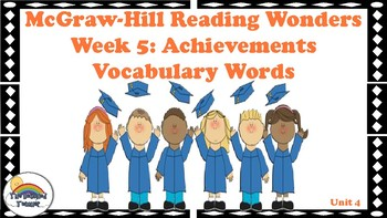 4th Grade Reading Wonders Unit 4 Week 5 Vocabulary with Definitions Word Wall