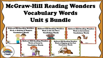 4th Grade Reading Wonders Unit 5 BUNDLE Vocabulary with Definitions Word Wall