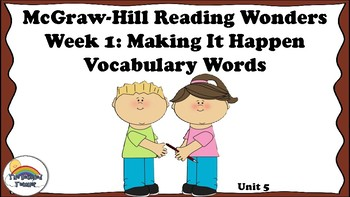 4th Grade Reading Wonders Unit 5 Week 1 Vocabulary with Definitions Word Wall