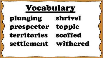 4th Grade Reading Wonders Unit 5 Week 2 Vocabulary with Definitions Word Wall