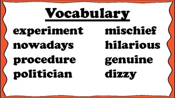 4th Grade Reading Wonders Unit 5 Week 3 Vocabulary with Definitions Word Wall