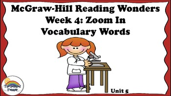 4th Grade Reading Wonders Unit 5 Week 4 Vocabulary with Definitions Word Wall
