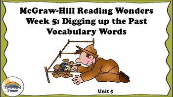 4th Grade Reading Wonders Unit 5 Week 5 Vocabulary with Definitions Word Wall