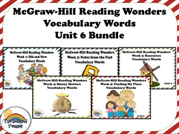 4th Grade Reading Wonders Unit 6 BUNDLE Vocabulary with Definitions Word Wall