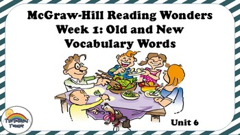 4th Grade Reading Wonders Unit 6 Week 1 Vocabulary with Definitions Word Wall
