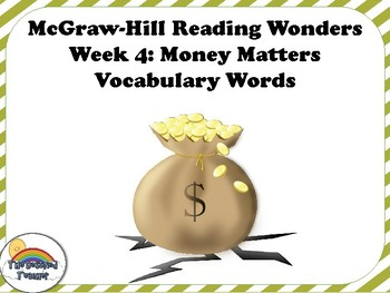 4th Grade Reading Wonders Unit 6 Week 4 Vocabulary with Definitions Word Wall