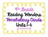 4th Grade Reading Wonders Vocabulary Cards