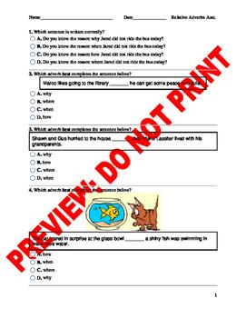 4th Grade Relative Adverbs Assessment