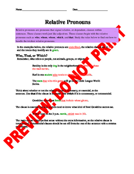 4th Grade Relative Pronouns Assessment and Guided Notes