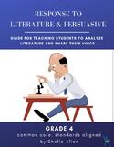 Response to Literature & Persuasive Writing 4th Grade Common Core Writing Lady
