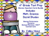 4th Grade Review Question Card Bundle CC, GPS, GA Milestones, Year Round & Test