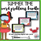 4th Grade Review Task Cards   End of Year Summer Math Boom Cards