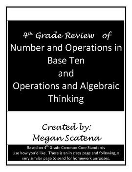 4th Grade Review of Numbers in Base Ten and Algebraic Thinking